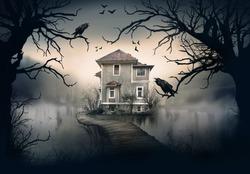Haunted House on the Lake with Dark Horror Atmosphere. Haunted Lake Scene House.