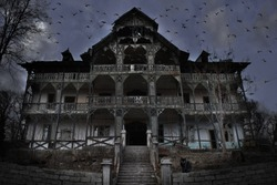 Haunted House with Dark Horror Atmosphere, many crows and a Black Cat with Green eyes. Haunted Scene House
