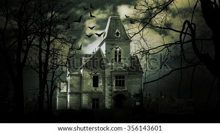Haunted house with dark scary horror atmosphere