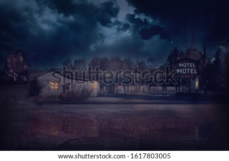 Haunted motel with dark sky and trees Сток-фото ©