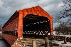Haunted Sachs Covered Bridge in Winter, Adams County, Pennsylvania, USA