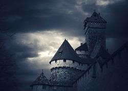 Haut-Koenigsbourg castle (Alsace, France). Toned photo.