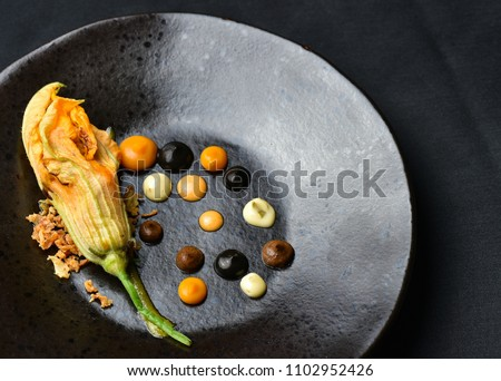 Haute cuisine appetizer with pumpkin