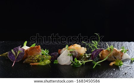 Haute cuisine, Gourmet food scallops with asparagus and lardo bacon Photo stock ©