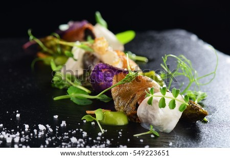 Haute cuisine, Gourmet food scallops with asparagus and lardo bacon