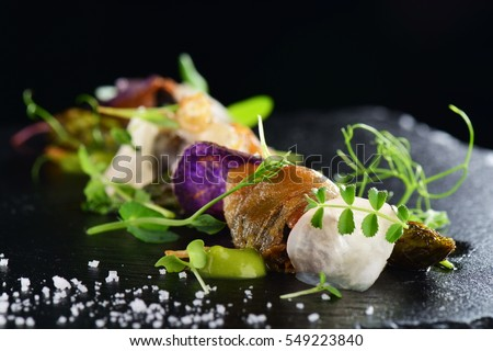 Shutterstock Haute cuisine, Gourmet food scallops with asparagus and lardo bacon