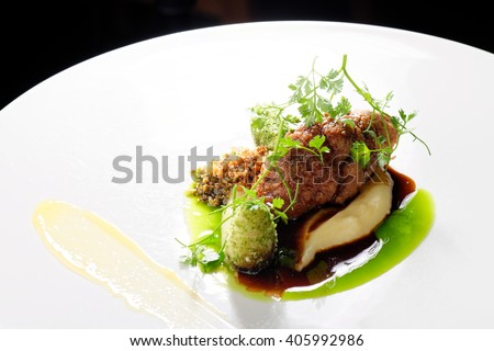 Haute cuisine, roast beef with potato purree and parsley