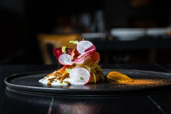 Haute cuisine salad with nuts, sauce and radish on a black dish at dark background