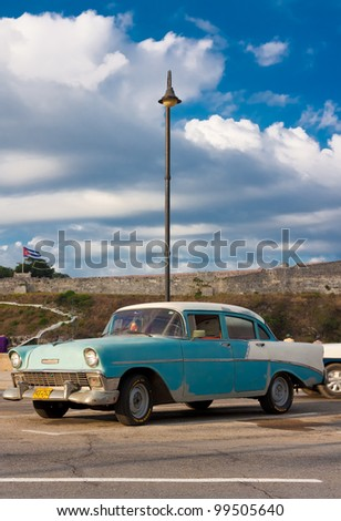 HAVANA-APRIL 6:Classic Chevrolet parked in the Malecon Avenue April 6, 2012 in Havana.Before a new law issued on October 2011, Cubans could only trade cars that were on the road before 1959