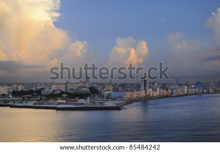 Havana bay entrance and city skyline at sunset time