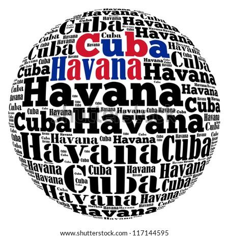 Havana capital city of Cuba info-text graphics and arrangement concept on white background (word cloud)