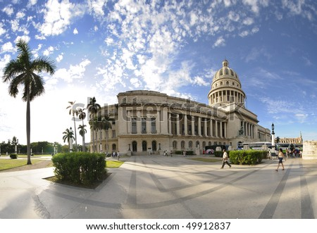 HAVANA - CIRCA DEC 2009. View of Havana National Capitoly Building, one of the most relevant city landmarks built in 1929. Taken in Havana, circa dec 2009.