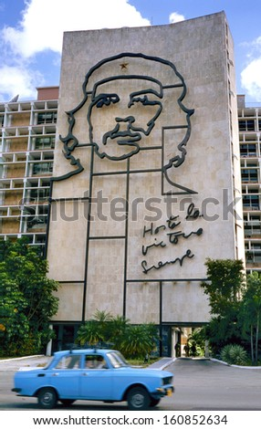 "HAVANA, CUBA - APRIL 4: Steel outline of Ernesto ""Che"" Guevara's face aside the Ministry of the Interior building.April 4, 2011, Havana,Cuba"