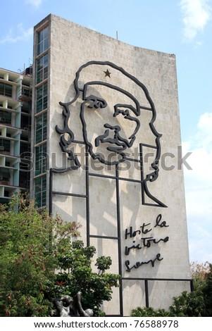 "HAVANA, CUBA - APRIL 4: Steel outline of revolutionary ""Che"" Guevara's face aside the Ministry of the Interior building in Revolution Square, Havana, Cuba, on April 4, 2011. Symbol of rebellion. - stock photo"