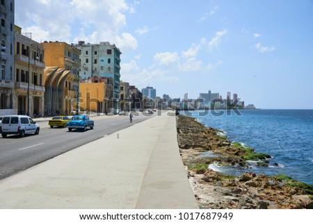 Havana, Cuba, AUG 6, 2017: Beautiful view of Malecón, Havana's evocative 7km-long sea drive and embankment promenade. Havana is the Capital of Cuba.