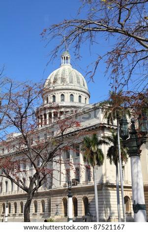 Havana, Cuba - city architecture. Famous National Capitol (Capitolio Nacional) building.