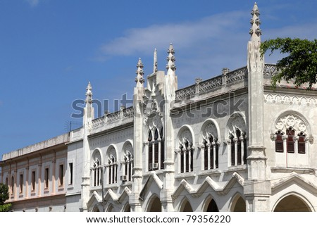 Havana, Cuba - city architecture. Gothic church in Vedado.