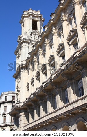 Havana, Cuba - city architecture. Museum of Fine Arts building. Havana's old town is a UNESCO World Heritage Site. - stock photo