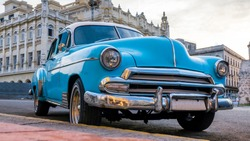 Havana Cuba. Close up of a vintage classic American car.