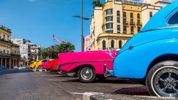 Havana, Cuba. Colourful old cars.