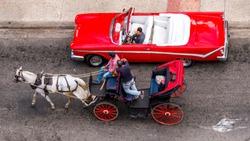 Havana Cuba. Colourful old cars.