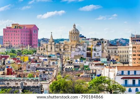 Photo of  Havana, Cuba downtown rooftop skyline.