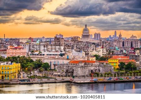 Photo of  Havana, Cuba downtown skyline at dusk.