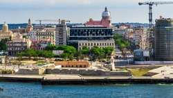 Havana, Cuba downtown skyline from Above. With historic buildings in the day