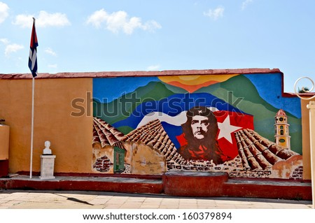 HAVANA, CUBA, MAY 11, 2009. Graffiti and wall paintings representing the Cuban national heroes, in Havana, on May 11th, 2009. - stock photo