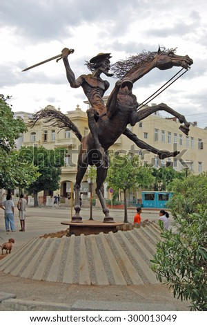 HAVANA, CUBA - NOVEMBER 19, 2005: Statue of the fictional character Don Quixote from the novel by Cervantes in the Vedado district of Havana, Cuba.