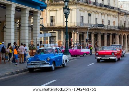 Havana Cuba 02 10 2018 Vintage Classic American Cars In Restored
