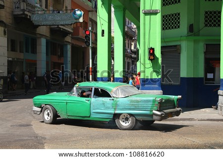 HAVANA - FEBRUARY 26: Classic American car on February 26, 2011 in Havana. Recent change in law allows the Cubans to trade cars again. Most cars in Cuba are very old because of the old law.