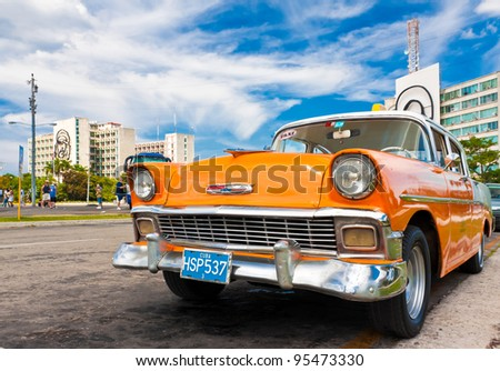 HAVANA-FEBRUARY 16: Classic Chevrolet parked in the Revolution Square February 16, 2012 in Havana, Cuba.Before a new law issued on October 2011, Cubans could only trade cars that were on the road before 1959