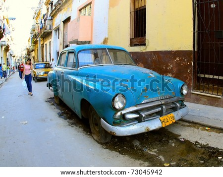 HAVANA-JAN 26: Classic car on January 26, 2009 in Havana. Cubans keep thousands of them running despite the fact that parts have not been produced for decades and they've become an icon of the country