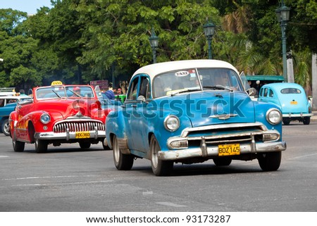 HAVANA-JANUARY 15:Classic american cars January 15,2012 in Havana.Before a new law issued on October 2011,cubans could only trade old cars that were on the road before the revolution of 1959