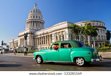 HAVANA-JANUARY 4:Oldtimer near the Capitol January 4th, 2013 in Havana.Under the law that changed in 2012,Cubans could only buy and sell cars that were in use before 1959 - stock photo