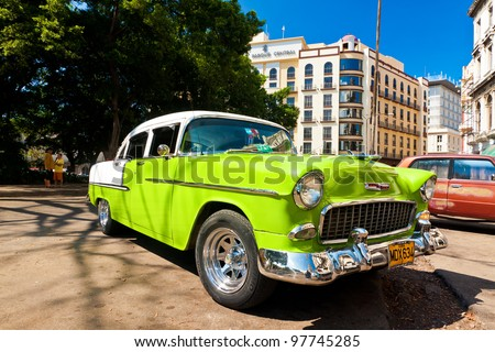 HAVANA-MARCH 16:Classic Chevrolet parked next to the Central Park March 16,2012 in Havana.Before a new law issued on October 2011,cubans could only trade cars that were on the road before 1959