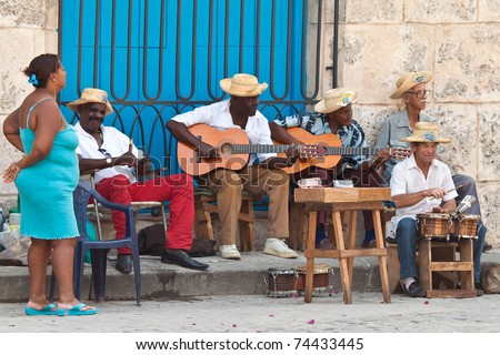 HAVANA-MARCH 25:Street musicians on March 25,2011 in Havana.With Cuba receiving over two million tourists a year people like these,usually working for tips;are part of the atmosphere of Old Havana