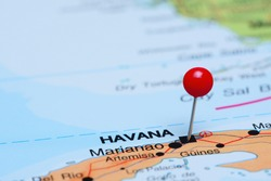 Havana pinned on a map of America