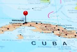 Havana pinned on a map of Cuba