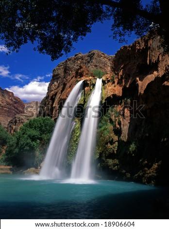 Havasu Falls, on the Havasupai Indian Reservation, located in the Grand Canyon, Arizona.
