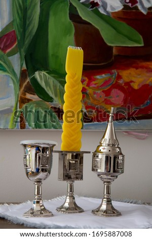 Havdalah set for Shabat Still life with painting in the background  Stok fotoğraf ©