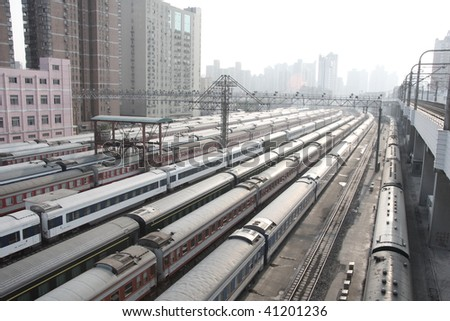 have a bird's eye view of shanghai railway station. - stock photo