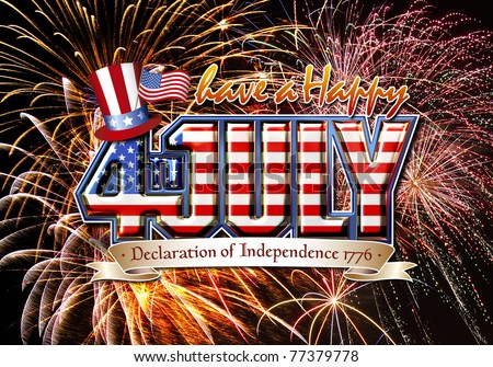 Have a Happy 4th July graphic with stars and strips on a firework background