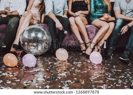 Have Fun. Champagne. Birthday. Gift. Balloon. Confetti. Great Mood. Trendy Modern Nightclub. Celebration. Young People. Karaoke Club. Smiling Girl. Bar. Holidays Concept. Rest in Pairs. Sing Songs.