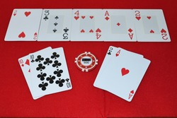 Have seen the two cards of two poker players, whoever wins has an ace and a two.