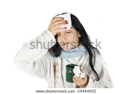 Having a bad cold with fever on white background