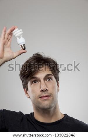 having a green idea - stock photo