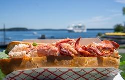 Having fresh Maine lobster roll outdoor