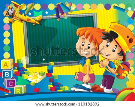Having fun and learn - time to school or kindergarten - space for text - happy and bright illustration for the children - inspirational 6
